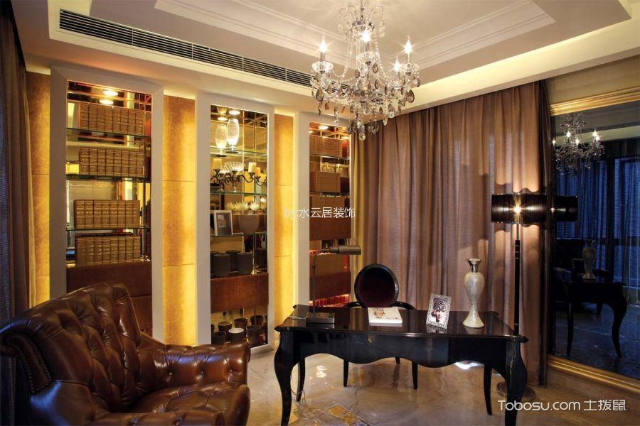 书房咖啡色窗帘混搭风格装潢设计图片
