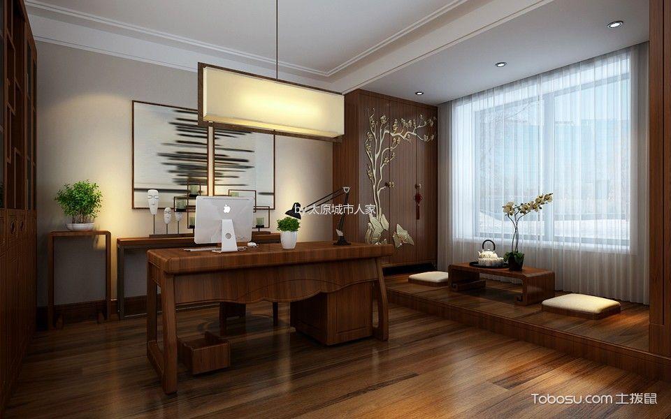书房白色窗帘中式风格装饰设计图片