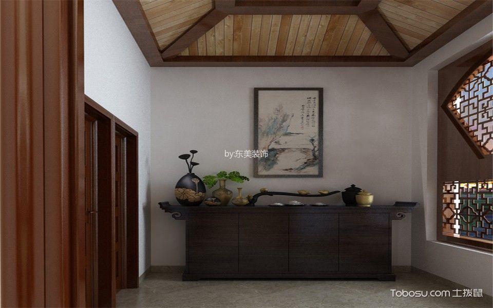 玄关白色背景墙中式风格装饰设计图片