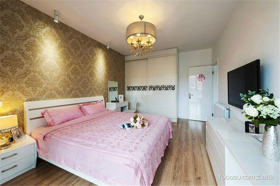 卧室咖啡色地板砖美式风格效果图