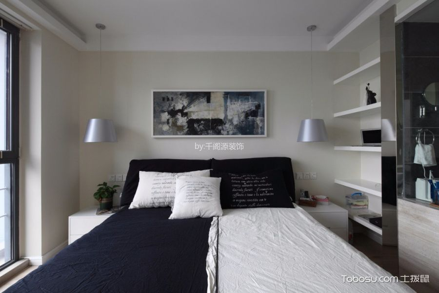卧室 吊顶_现代简约风格125平米三室两厅室内装修效果图