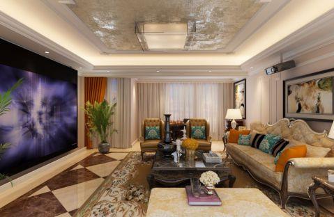 简欧风格91平米两室两厅室内装修效果图