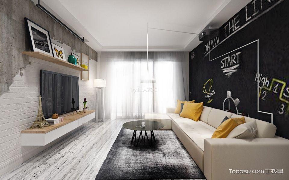 客厅 背景墙_北欧风格92平米2房2厅房子装饰效果图