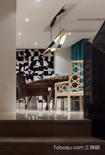 餐厅绿色窗帘混搭风格装修效果图