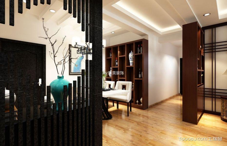 餐厅咖啡色博古架新中式风格装饰设计图片