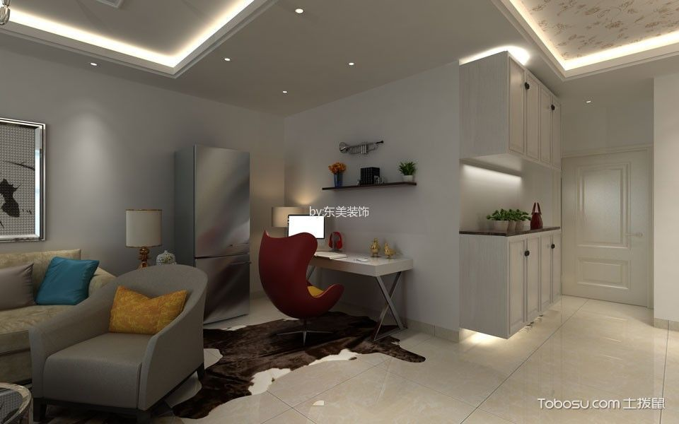 客厅白色书桌现代风格效果图