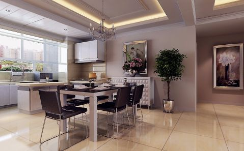 现代简约风格85平米两室两厅室内装修效果图