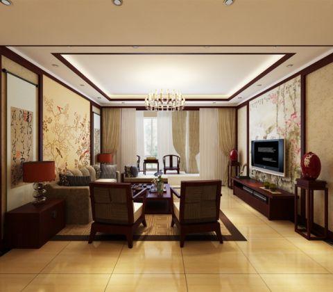 2020简中150平米效果图 2020简中三居室装修设计图片