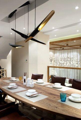 餐厅吊顶混搭风格装潢效果图