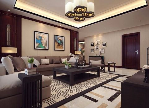 新中式风格90平米公寓新房装修效果图