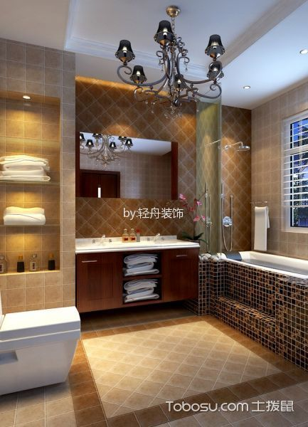 卫生间黄色背景墙简欧风格装饰图片