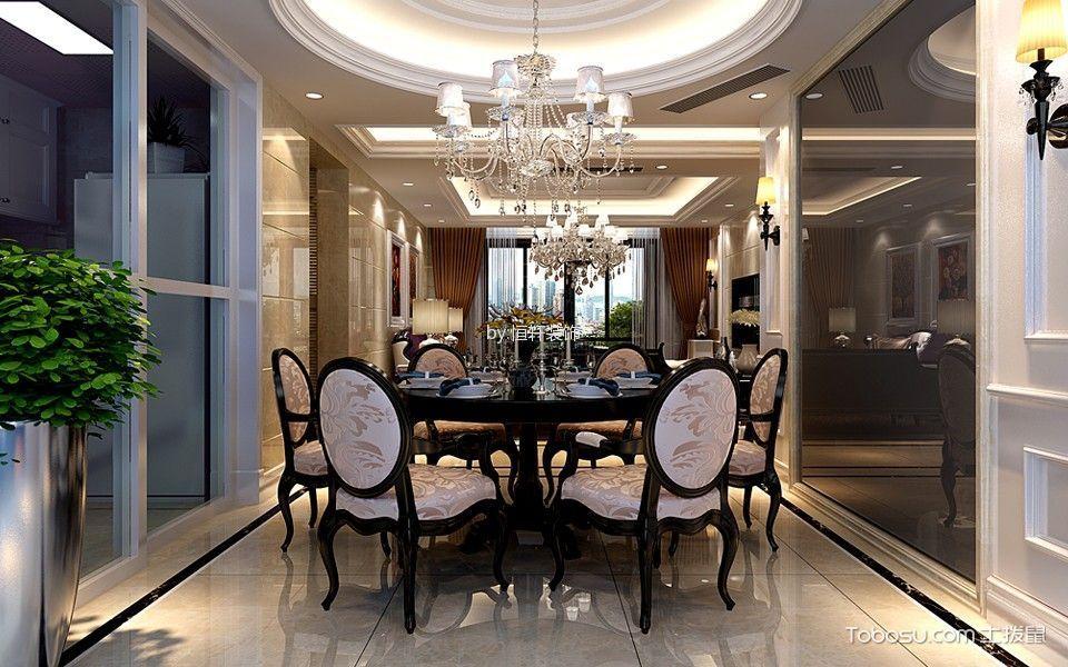 餐厅白色推拉门欧式风格装潢效果图