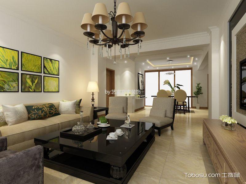 简中风格130平米三房两厅新房装修效果图