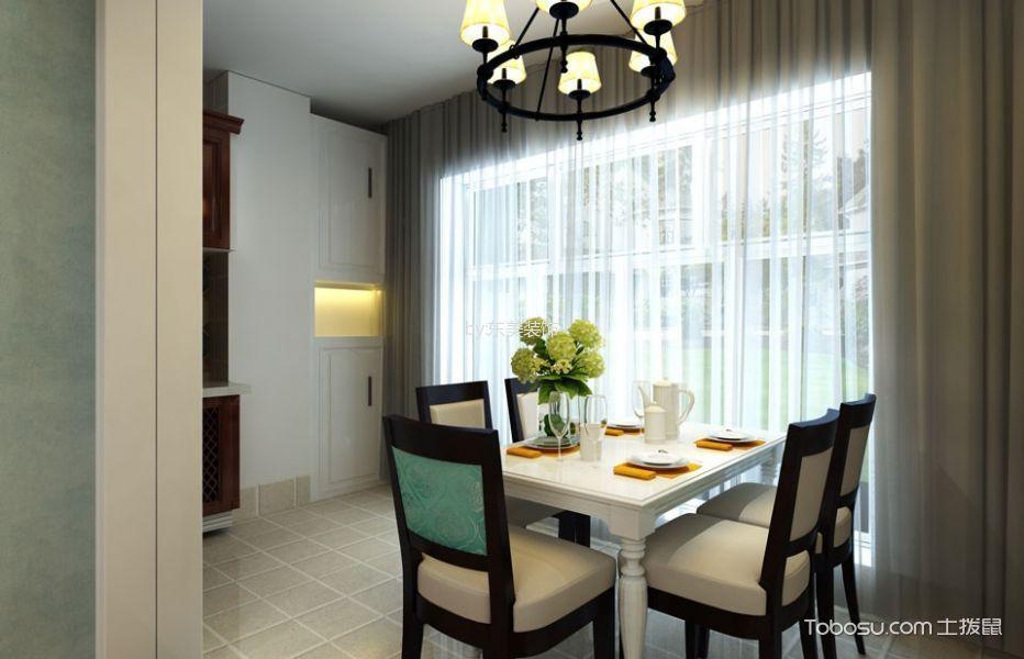 餐厅白色窗帘现代风格装潢图片