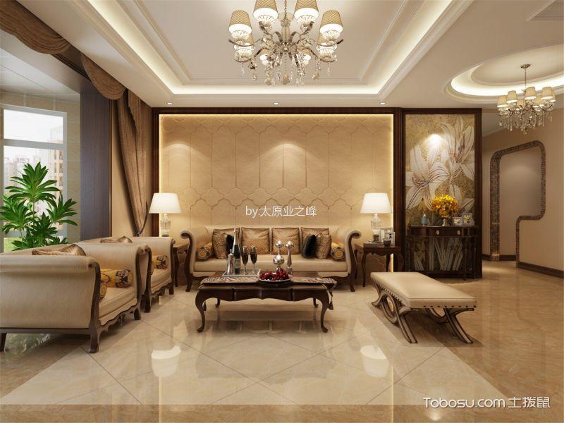 客厅米色吊顶简欧风格装潢图片图片