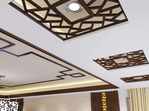 客厅吊顶新中式风格装潢效果图