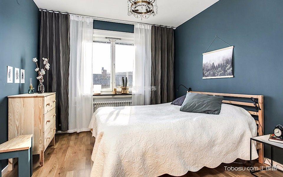 卧室灰色背景墙北欧风格装潢设计图片