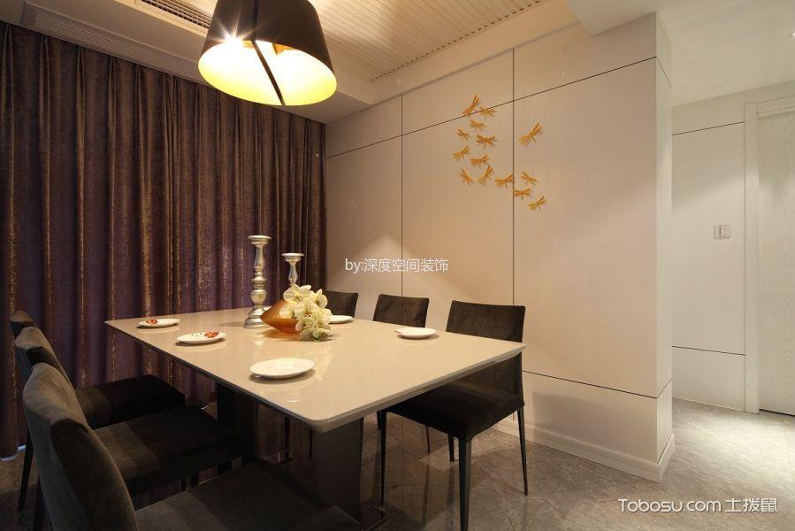 餐厅咖啡色窗帘美式风格装潢图片