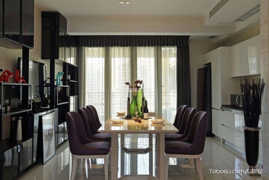 餐厅灰色窗帘混搭风格装潢图片