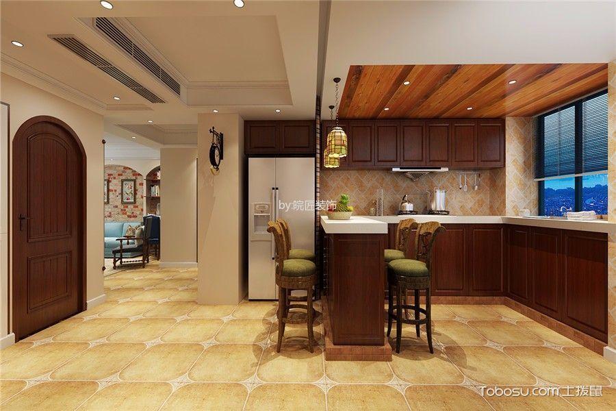 厨房咖啡色吧台混搭风格装潢效果图