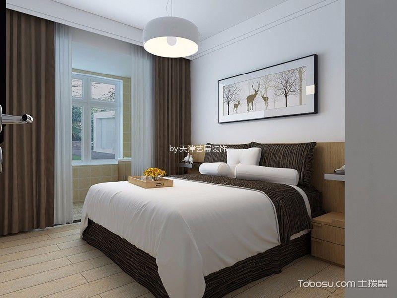 卧室咖啡色窗帘北欧风格装潢效果图