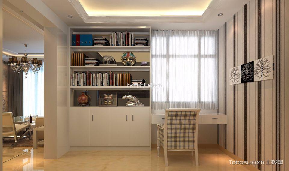 书房白色窗帘混搭风格效果图