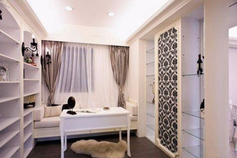 书房背景墙欧式风格装饰设计图片