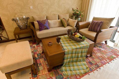 东南亚风格110平米三室两厅室内装修效果图