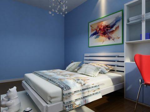 卧室蓝色照片墙地中海风格装修效果图