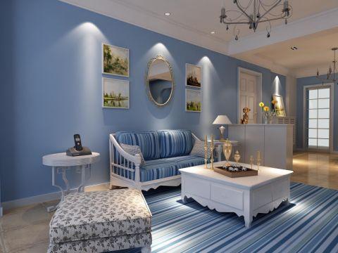 客厅白色吊顶地中海风格装饰效果图