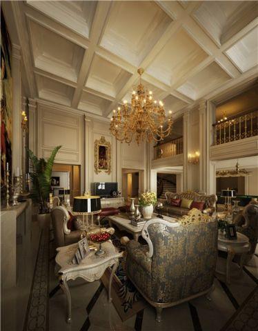 客厅米色吊顶新古典风格装饰效果图