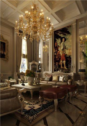 客厅米色背景墙新古典风格装潢效果图