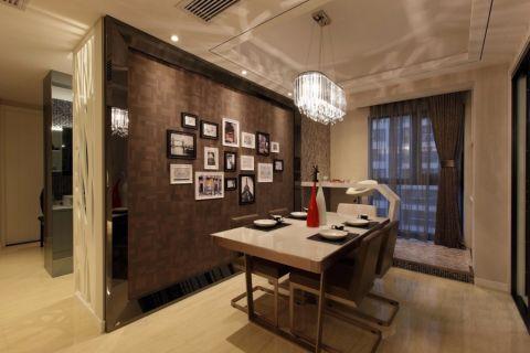 餐厅咖啡色照片墙现代简约风格装潢效果图