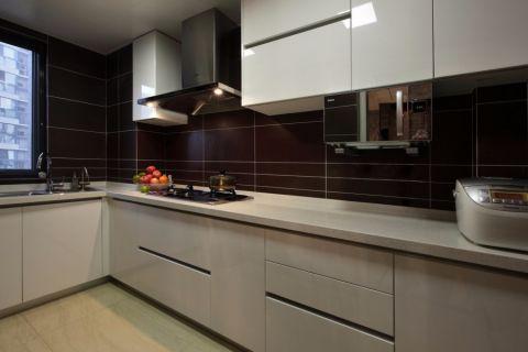厨房咖啡色背景墙现代简约风格装修图片