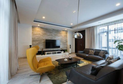 客厅黑色沙发简约风格装修效果图