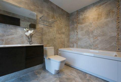 卫生间黄色背景墙简约风格装饰设计图片