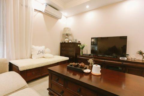 客厅白色窗帘美式风格装修图片