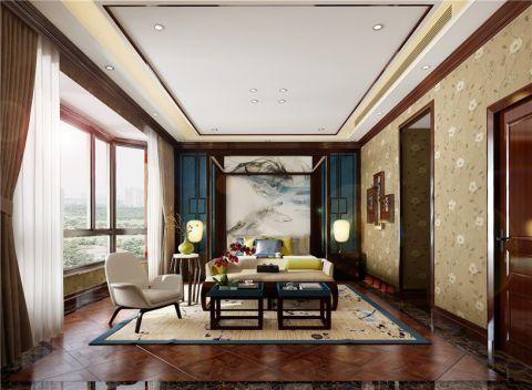 书房背景墙新中式风格装饰效果图