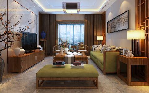 中式风格124平米三室两厅室内装修效果图
