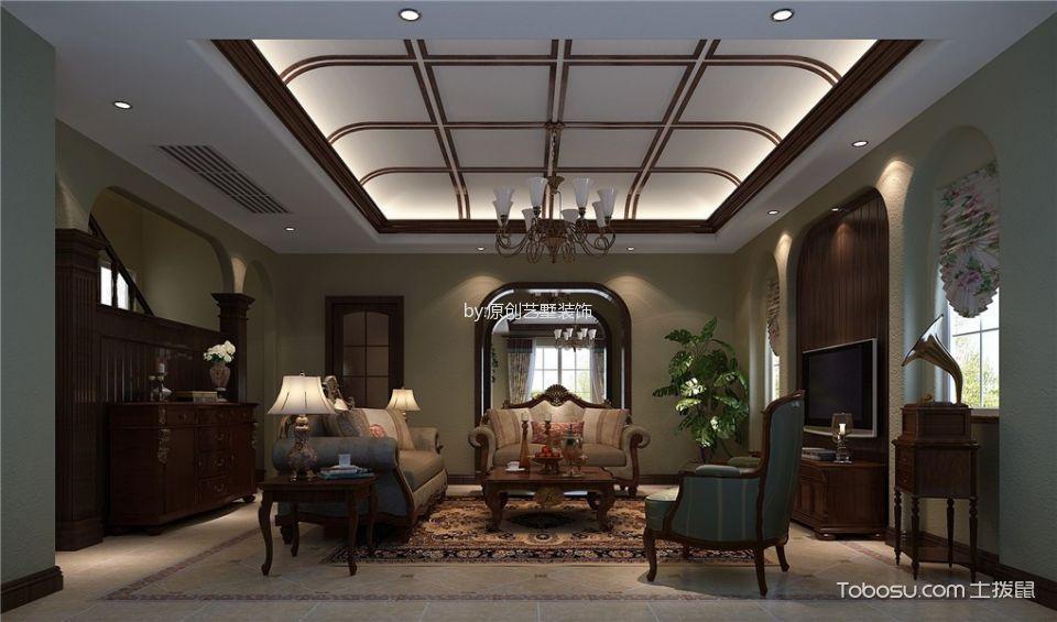 客厅白色灯具美式风格装饰设计图片