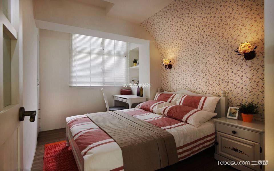 卧室米色背景墙田园风格装修图片