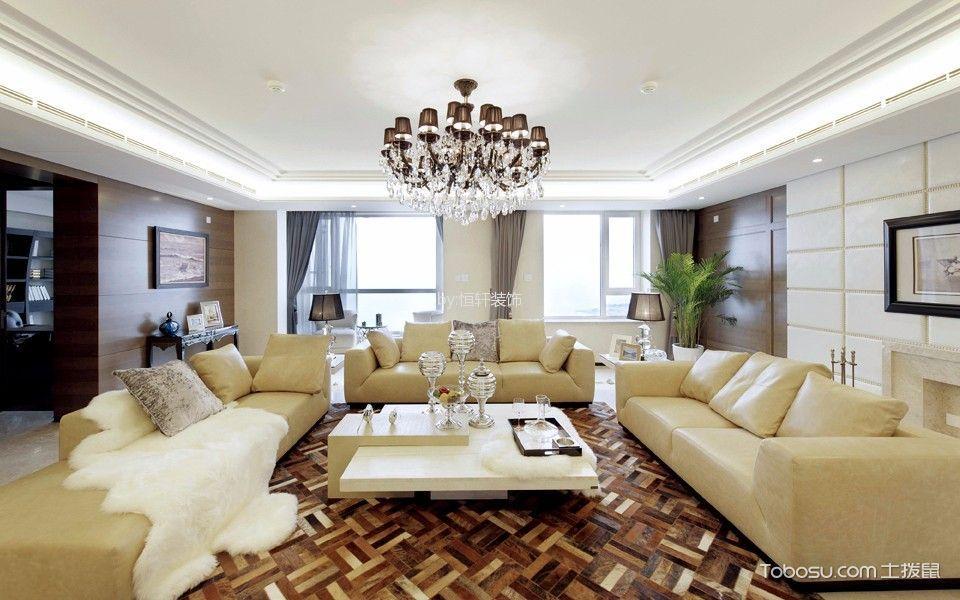 客厅咖啡色灯具简欧风格装饰图片