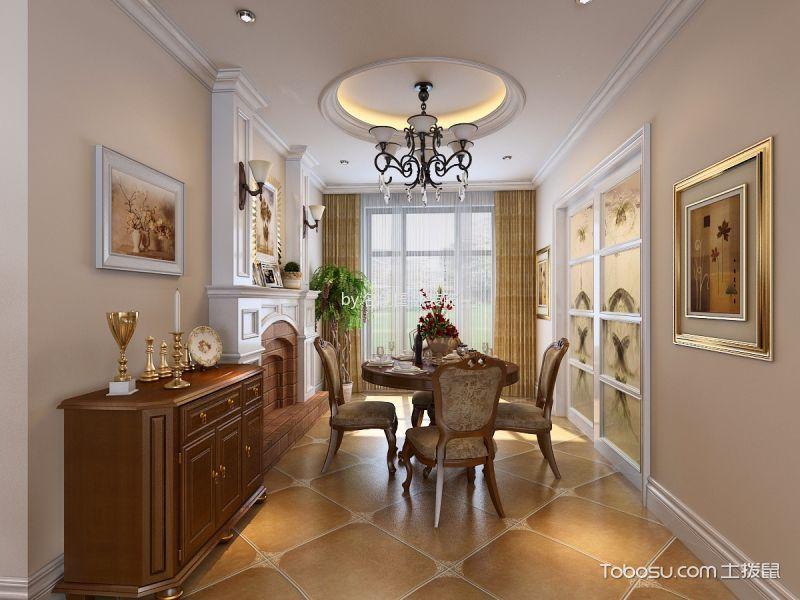 餐厅白色推拉门简欧风格装潢效果图
