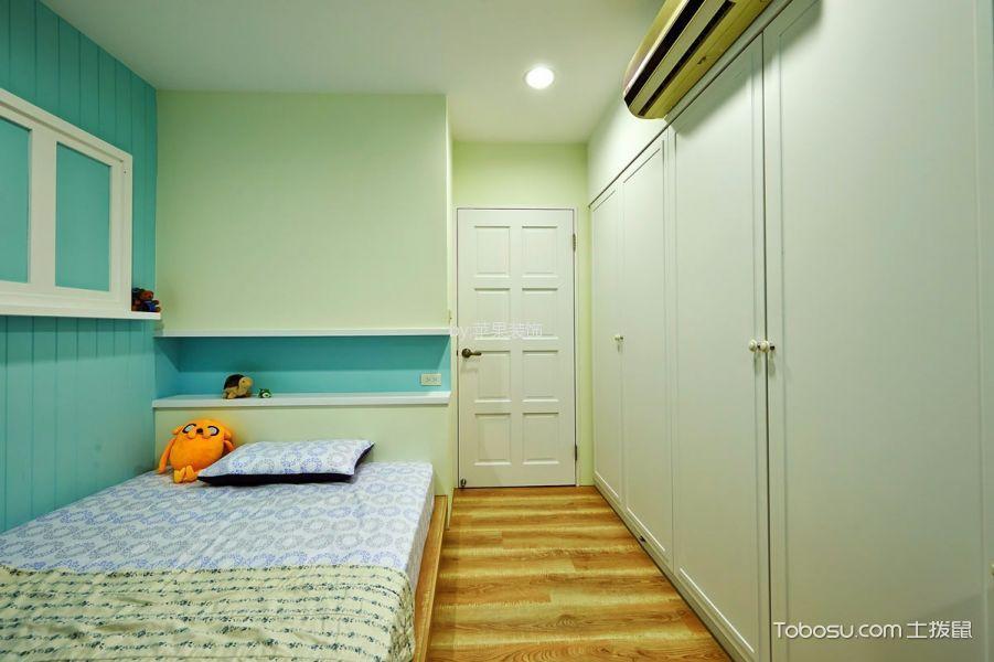 卧室蓝色背景墙田园风格装潢效果图