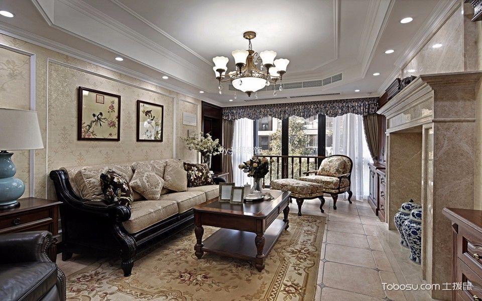 美式风格126平米3房2厅房子装饰效果图