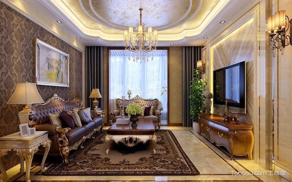 客厅 吊顶_美式风格180平米大户型室内装修效果图