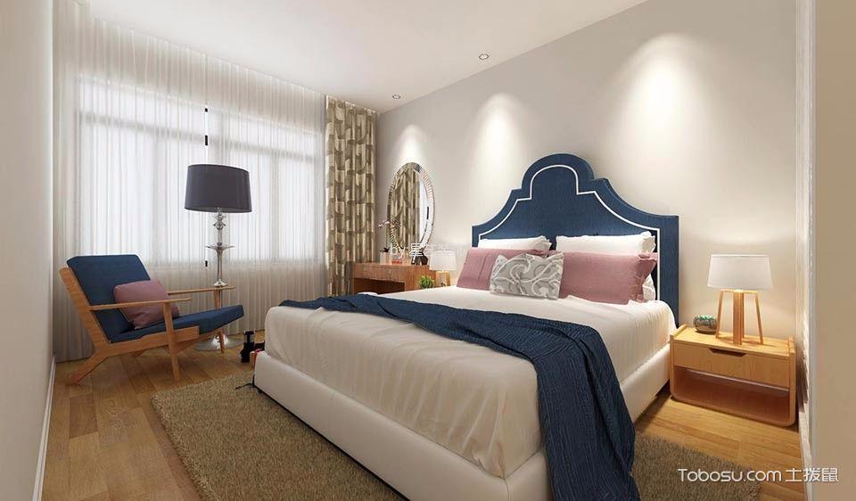 卧室彩色窗帘北欧风格效果图