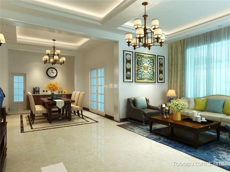 客厅米色地板砖美式风格装潢图片