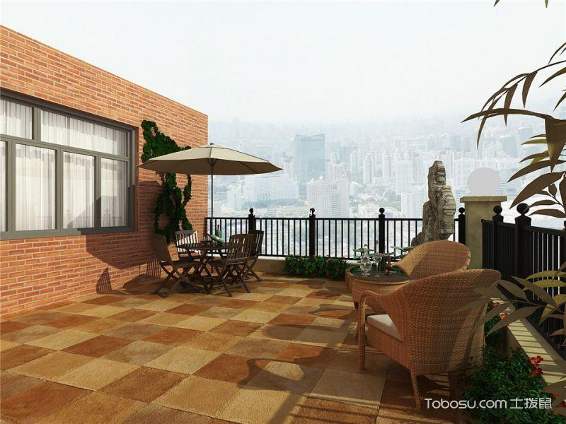 阳台黄色地板砖美式风格装饰设计图片