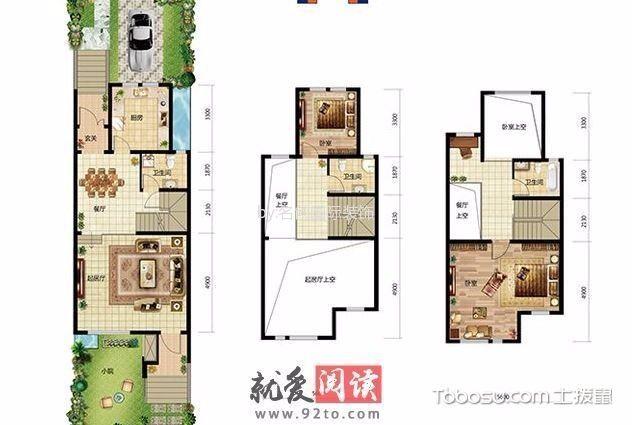 现代欧式风格179平米别墅新房装修效果图